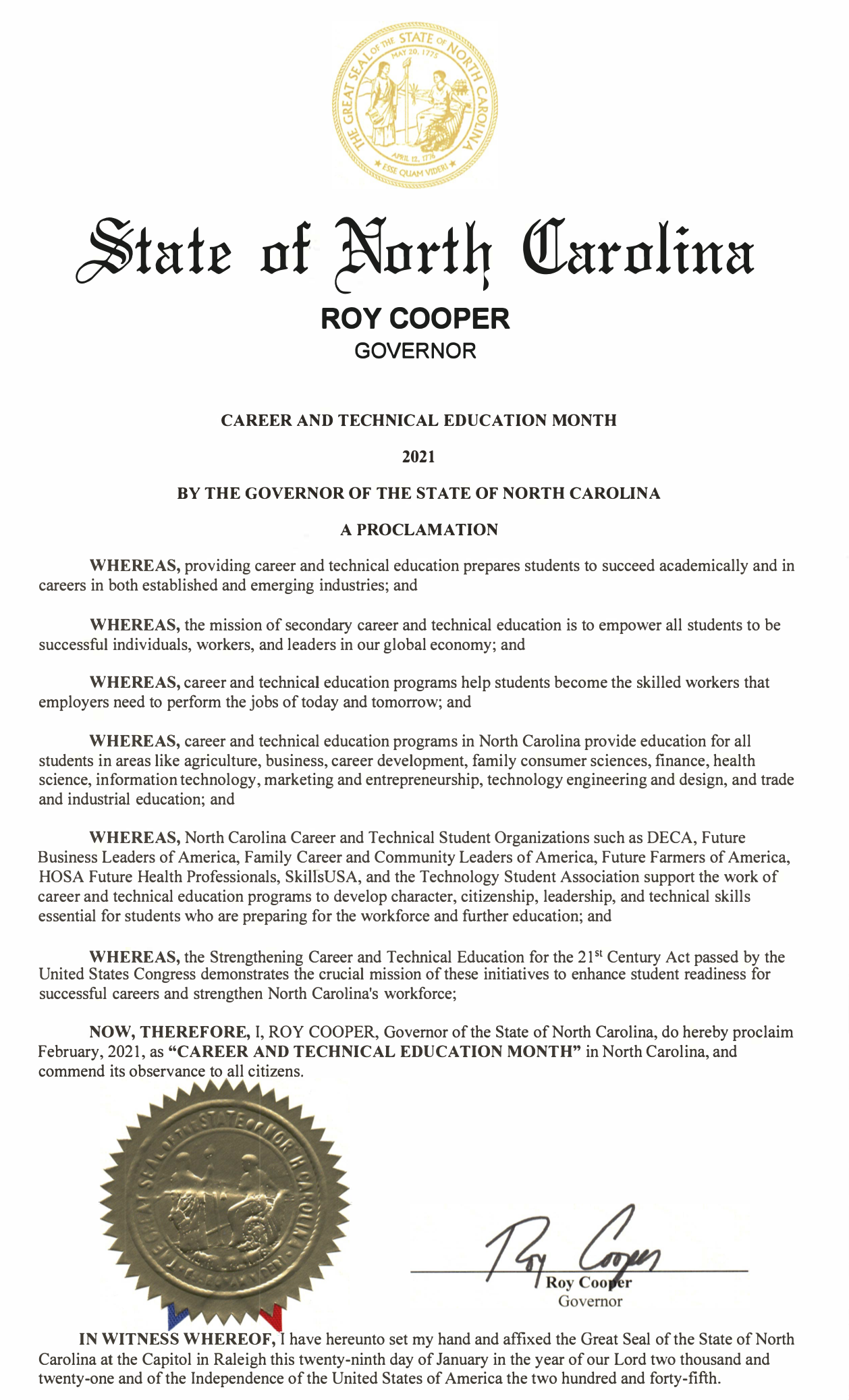 CTE Governor's Proclamation
